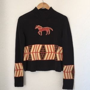 🐎 Vintage fall knit sweater horse western winter